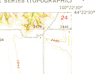 Reduced fragment of topographic map en--usgs--024k--011257--(1954)--N044-22-30_W102-30-00--N044-15-00_W102-22-30