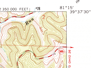 Reduced fragment of topographic map en--usgs--024k--011258--(1961)--N039-37-30_W081-22-30--N039-30-00_W081-15-00