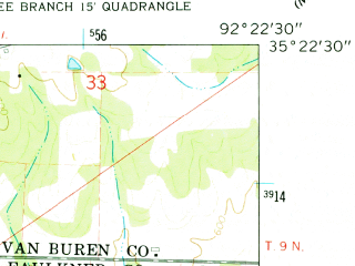 Reduced fragment of topographic map en--usgs--024k--011270--(1961)--N035-22-30_W092-30-00--N035-15-00_W092-22-30; towns and cities Damascus