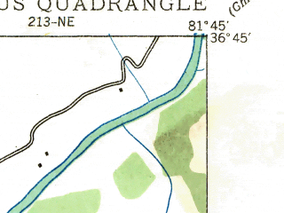 Reduced fragment of topographic map en--usgs--024k--011271--(1935)--N036-45-00_W081-52-30--N036-37-30_W081-45-00; towns and cities Damascus
