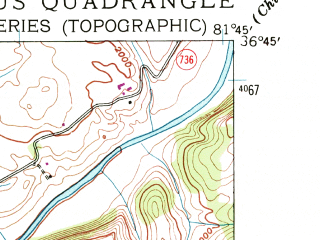 Reduced fragment of topographic map en--usgs--024k--011271--(1938)--N036-45-00_W081-52-30--N036-37-30_W081-45-00; towns and cities Damascus