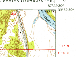 Reduced fragment of topographic map en--usgs--024k--011283--(1955)--N039-52-30_W087-30-00--N039-45-00_W087-22-30; towns and cities Dana