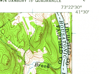 Reduced fragment of topographic map en--usgs--024k--011292--(1953)--N041-30-00_W073-30-00--N041-22-30_W073-22-30; towns and cities Danbury
