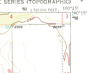 Reduced fragment of topographic map en--usgs--024k--011293--(1957)--N040-15-00_W100-22-30--N040-07-30_W100-15-00