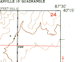 Reduced fragment of topographic map en--usgs--024k--011349--(1951)--N040-15-00_W087-37-30--N040-07-30_W087-30-00; towns and cities Danville, State Line City