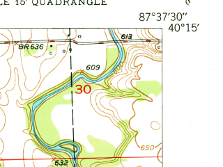 Reduced fragment of topographic map en--usgs--024k--011350--(1950)--N040-15-00_W087-45-00--N040-07-30_W087-37-30 in area of Lake Vermillion