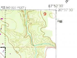 Reduced fragment of topographic map en--usgs--024k--011355--(1953)--N030-37-30_W088-00-00--N030-30-00_W087-52-30; towns and cities Fairhope