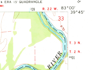 Reduced fragment of topographic map en--usgs--024k--011360--(1958)--N039-45-00_W083-07-30--N039-37-30_W083-00-00; towns and cities Darbyville