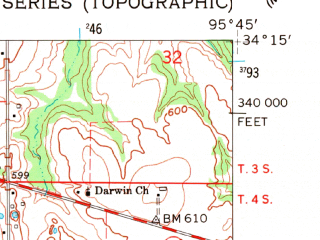 Reduced fragment of topographic map en--usgs--024k--011389--(1961)--N034-15-00_W095-52-30--N034-07-30_W095-45-00