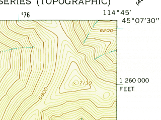 Reduced fragment of topographic map en--usgs--024k--011405--(1962)--N045-07-30_W114-52-30--N045-00-00_W114-45-00