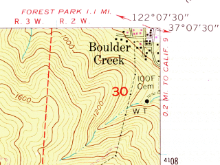 Reduced fragment of topographic map en--usgs--024k--011407--(1955)--N037-07-30_W122-15-00--N037-00-00_W122-07-30; towns and cities Davenport