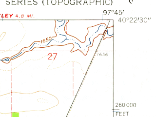 Reduced fragment of topographic map en--usgs--024k--011408--(1960)--N040-22-30_W097-52-30--N040-15-00_W097-45-00; towns and cities Davenport