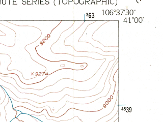 Reduced fragment of topographic map en--usgs--024k--011445--(1955)--N041-00-00_W106-45-00--N040-52-30_W106-37-30