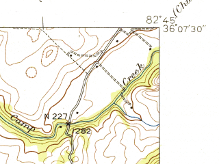 Reduced fragment of topographic map en--usgs--024k--011459--(1940)--N036-07-30_W082-52-30--N036-00-00_W082-45-00