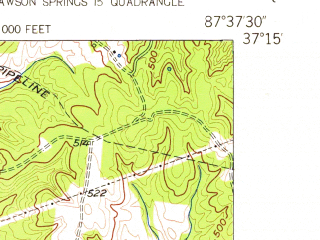 Reduced fragment of topographic map en--usgs--024k--011474--(1954)--N037-15-00_W087-45-00--N037-07-30_W087-37-30; towns and cities Dawson Springs