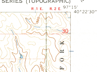 Reduced fragment of topographic map en--usgs--024k--011489--(1960)--N040-22-30_W097-22-30--N040-15-00_W097-15-00; towns and cities Daykin