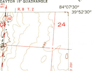 Reduced fragment of topographic map en--usgs--024k--011502--(1955)--N039-52-30_W084-15-00--N039-45-00_W084-07-30; towns and cities Dayton, Shiloh, Northridge
