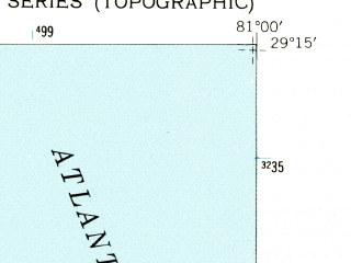 Reduced fragment of topographic map en--usgs--024k--011505--(1952)--N029-15-00_W081-07-30--N029-07-30_W081-00-00; towns and cities Daytona Beach, Holly Hill, South Daytona
