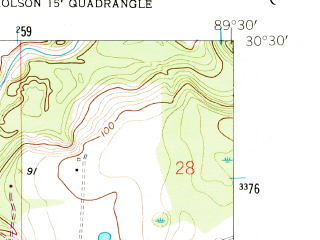 Reduced fragment of topographic map en--usgs--024k--011591--(1957)--N030-30-00_W089-37-30--N030-22-30_W089-30-00