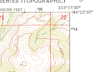 Reduced fragment of topographic map en--usgs--024k--011627--(1961)--N044-22-30_W103-45-00--N044-15-00_W103-37-30