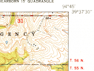 Reduced fragment of topographic map en--usgs--024k--011636--(1951)--N039-37-30_W094-52-30--N039-30-00_W094-45-00; towns and cities Dearborn