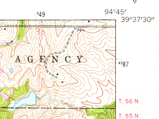 Reduced fragment of topographic map en--usgs--024k--011636--(1961)--N039-37-30_W094-52-30--N039-30-00_W094-45-00; towns and cities Dearborn