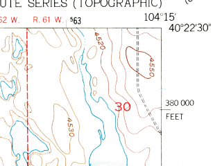 Reduced fragment of topographic map en--usgs--024k--011640--(1951)--N040-22-30_W104-22-30--N040-15-00_W104-15-00
