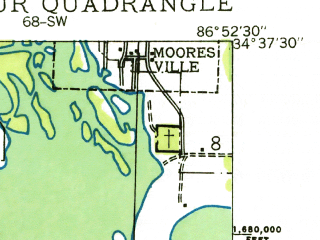 Reduced fragment of topographic map en--usgs--024k--011654--(1936)--N034-37-30_W087-00-00--N034-30-00_W086-52-30; towns and cities Decatur, Flint City, Priceville