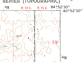 Reduced fragment of topographic map en--usgs--024k--011659--(1962)--N040-52-30_W085-00-00--N040-45-00_W084-52-30; towns and cities Decatur
