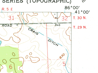 Reduced fragment of topographic map en--usgs--024k--011677--(1960)--N041-00-00_W086-07-30--N040-52-30_W086-00-00