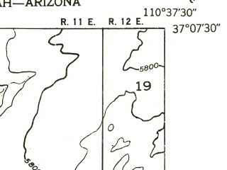Reduced fragment of topographic map en--usgs--024k--011682--(1953)--N037-07-30_W110-45-00--N037-00-00_W110-37-30