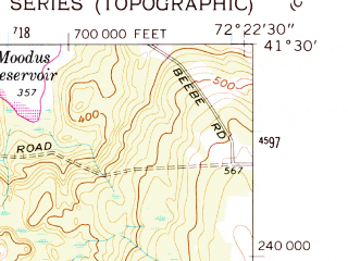 Reduced fragment of topographic map en--usgs--024k--011709--(1961)--N041-30-00_W072-30-00--N041-22-30_W072-22-30; towns and cities Chester Center, Deep River Center