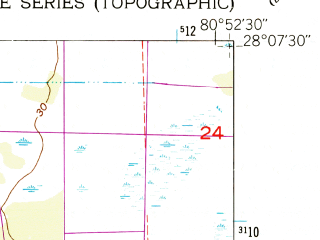Reduced fragment of topographic map en--usgs--024k--011751--(1953)--N028-07-30_W081-00-00--N028-00-00_W080-52-30