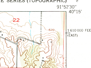 Reduced fragment of topographic map en--usgs--024k--011765--(1951)--N040-15-00_W092-00-00--N040-07-30_W091-52-30