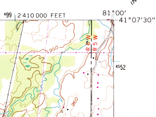 Reduced fragment of topographic map en--usgs--024k--011771--(1960)--N041-07-30_W081-07-30--N041-00-00_W081-00-00