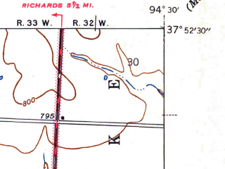 Reduced fragment of topographic map en--usgs--024k--011775--(1942)--N037-52-30_W094-37-30--N037-45-00_W094-30-00; towns and cities Deerfield