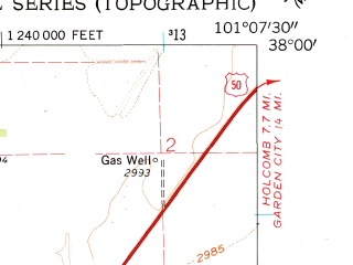 Reduced fragment of topographic map en--usgs--024k--011776--(1960)--N038-00-00_W101-15-00--N037-52-30_W101-07-30; towns and cities Deerfield