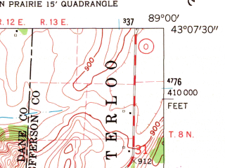 Reduced fragment of topographic map en--usgs--024k--011778--(1962)--N043-07-30_W089-07-30--N043-00-00_W089-00-00; towns and cities Cambridge, Deerfield
