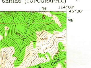 Reduced fragment of topographic map en--usgs--024k--011800--(1962)--N045-00-00_W114-07-30--N044-52-30_W114-00-00