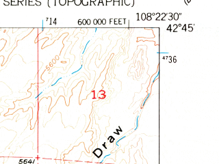 Reduced fragment of topographic map en--usgs--024k--011808--(1958)--N042-45-00_W108-30-00--N042-37-30_W108-22-30