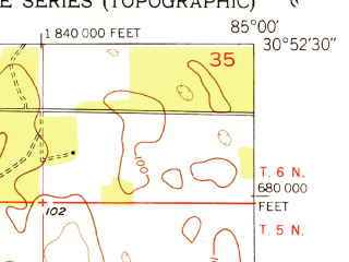 Reduced fragment of topographic map en--usgs--024k--011876--(1952)--N030-52-30_W085-07-30--N030-45-00_W085-00-00