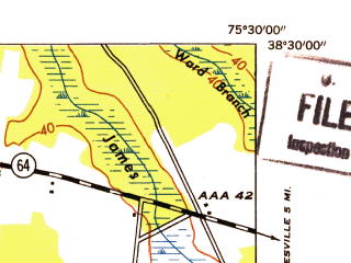 Reduced fragment of topographic map en--usgs--024k--011880--(1953)--N038-30-00_W075-37-30--N038-22-30_W075-30-00; towns and cities Delmar