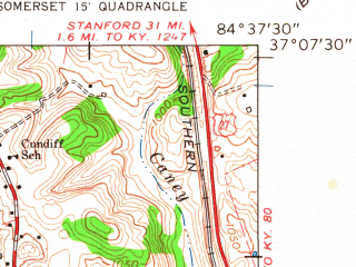 Reduced fragment of topographic map en--usgs--024k--011883--(1961)--N037-07-30_W084-45-00--N037-00-00_W084-37-30