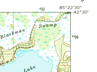 Reduced fragment of topographic map en--usgs--024k--011908--(1961)--N042-30-00_W085-30-00--N042-22-30_W085-22-30; towns and cities Richland, South Gull Lake