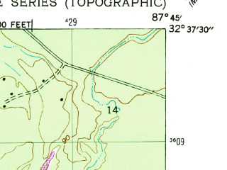 Reduced fragment of topographic map en--usgs--024k--011918--(1946)--N032-37-30_W087-52-30--N032-30-00_W087-45-00; towns and cities Demopolis
