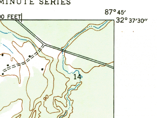 Reduced fragment of topographic map en--usgs--024k--011918--(1947)--N032-37-30_W087-52-30--N032-30-00_W087-45-00; towns and cities Demopolis