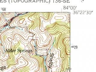 Reduced fragment of topographic map en--usgs--024k--011919--(1952)--N036-22-30_W084-07-30--N036-15-00_W084-00-00