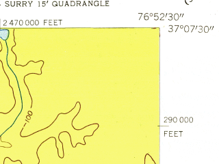 Reduced fragment of topographic map en--usgs--024k--011928--(1954)--N037-07-30_W077-00-00--N037-00-00_W076-52-30; towns and cities Dendron