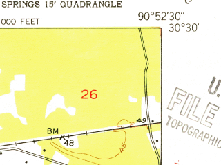 Reduced fragment of topographic map en--usgs--024k--011933--(1953)--N030-30-00_W091-00-00--N030-22-30_W090-52-30; towns and cities Denham Springs