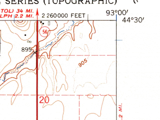 Reduced fragment of topographic map en--usgs--024k--011954--(1960)--N044-30-00_W093-07-30--N044-22-30_W093-00-00; towns and cities Dennison